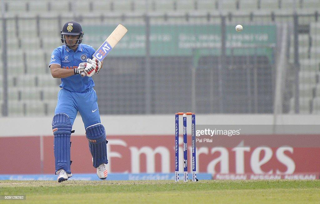 Ishan Kishan of India leaves a ball by Asitha Fernando of Sri Lanka during the ICC U19 World Cup Semi-Final match between India and Sri Lanka on February 9, 2016 in Dhaka, Bangladesh.