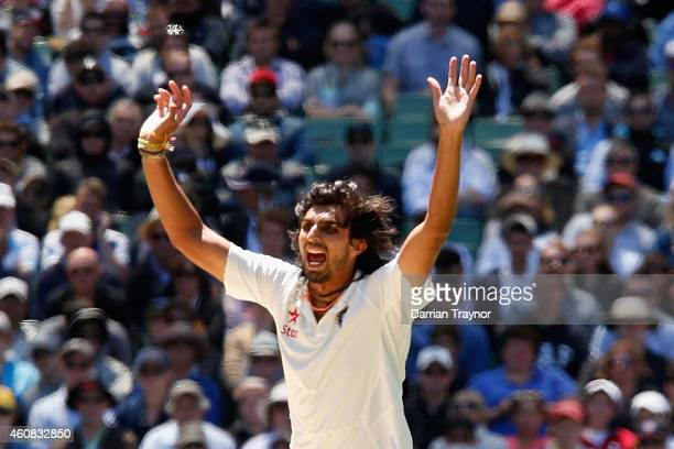 Ishant Sharma of India appeals during day one of the Third Test match between Australia and India at Melbourne Cricket Ground on December 26 2014 in...