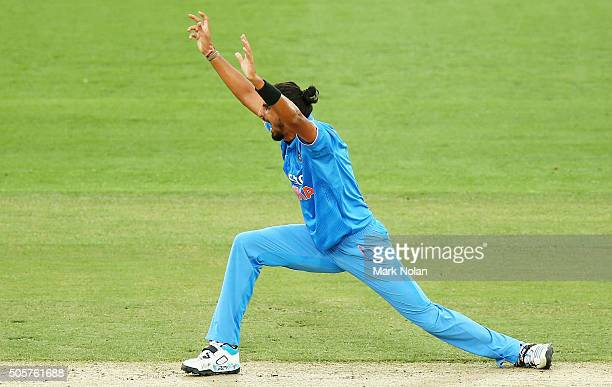 Ishant Sharma of India appeals during the Victoria Bitter One Day International match between Australia and India at Manuka Oval on January 20 2016...