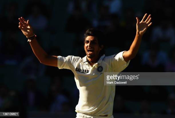 Ishant Sharma of India appeals for a wicket during day one of the First Test match between Australia and India at Melbourne Cricket Ground on...