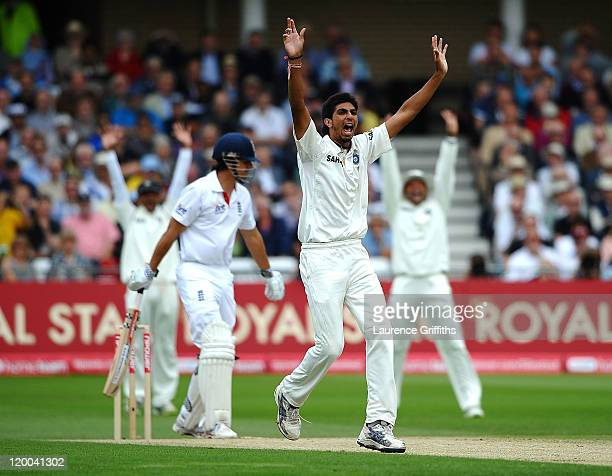 Ishant Sharma of India appeals for the wicket of Alastair Cook of England during the second npower Test match between England and India at Trent...