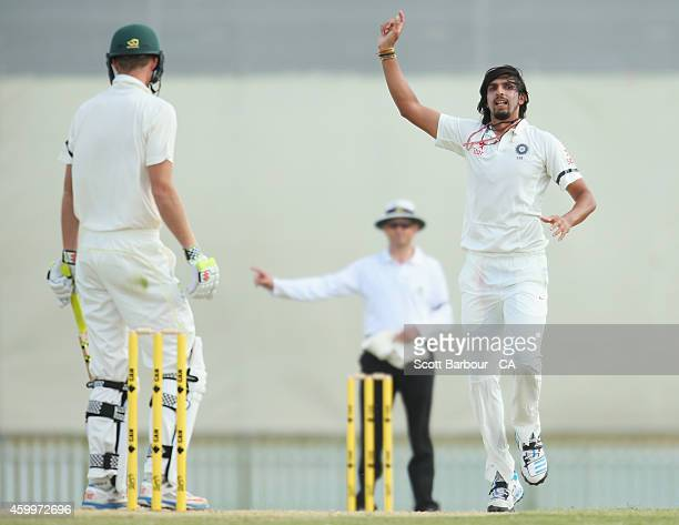 Ishant Sharma of India appeals successfully to dismiss Alex Keath of the Cricket Australia XI during the international tour match between the Cricket...