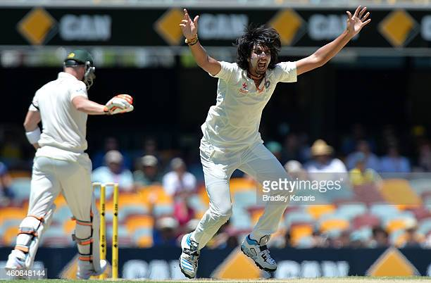 Ishant Sharma of India appeals to the umpire during day three of the 2nd Test match between Australia and India at The Gabba on December 19 2014 in...