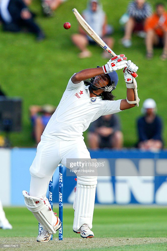 Ishant Sharma of India bats during day one of the 2nd Test match between New Zealand and India on February 14, 2014 in Wellington, New Zealand.