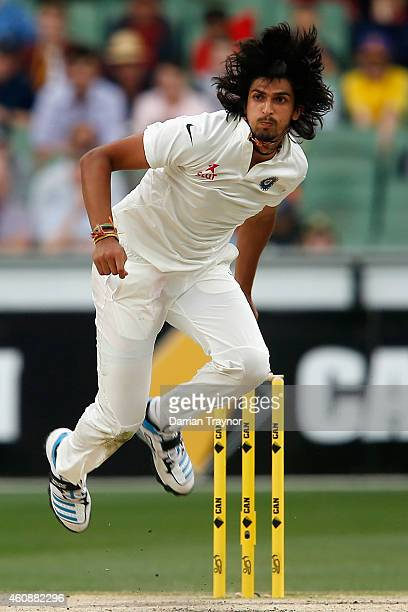 Ishant Sharma of India bowls during day four of the Third Test match between Australia and India at Melbourne Cricket Ground on December 29 2014 in...
