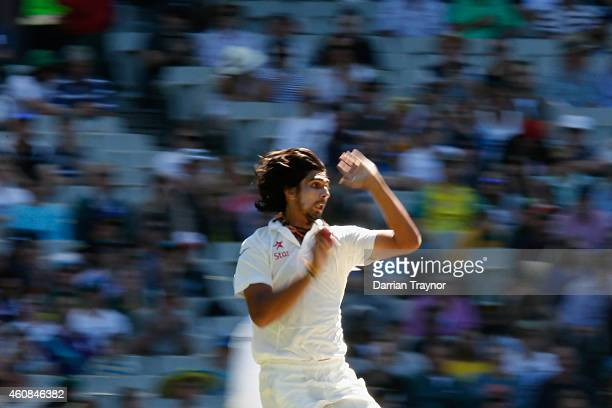 Ishant Sharma of India bowls during day two of the Third Test match between Australia and India at Melbourne Cricket Ground on December 27 2014 in...
