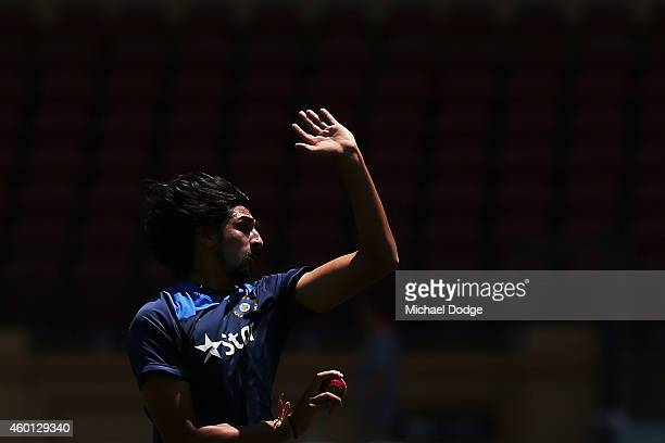 Ishant Sharma of India bowls on the ground during an India Training Session at Adelaide Oval on December 8 2014 in Adelaide Australia