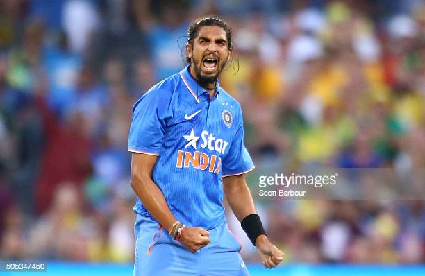 Ishant Sharma of India celebrates after dismissing Shaun Marsh of Australia during game three of the One Day International Series between Australia...