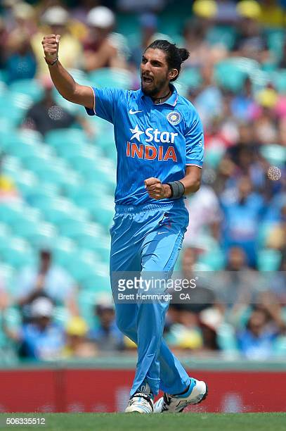 Ishant Sharma of India celebrates after taking the wicket of Aaron Finch of Australia during game five of the Commonwealth Bank One Day Series match...
