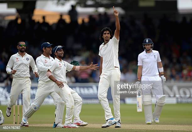 Ishant Sharma of India celebrates dismissing Ben Stokes of England during day five of 2nd Investec Test match between England and India at Lord's...