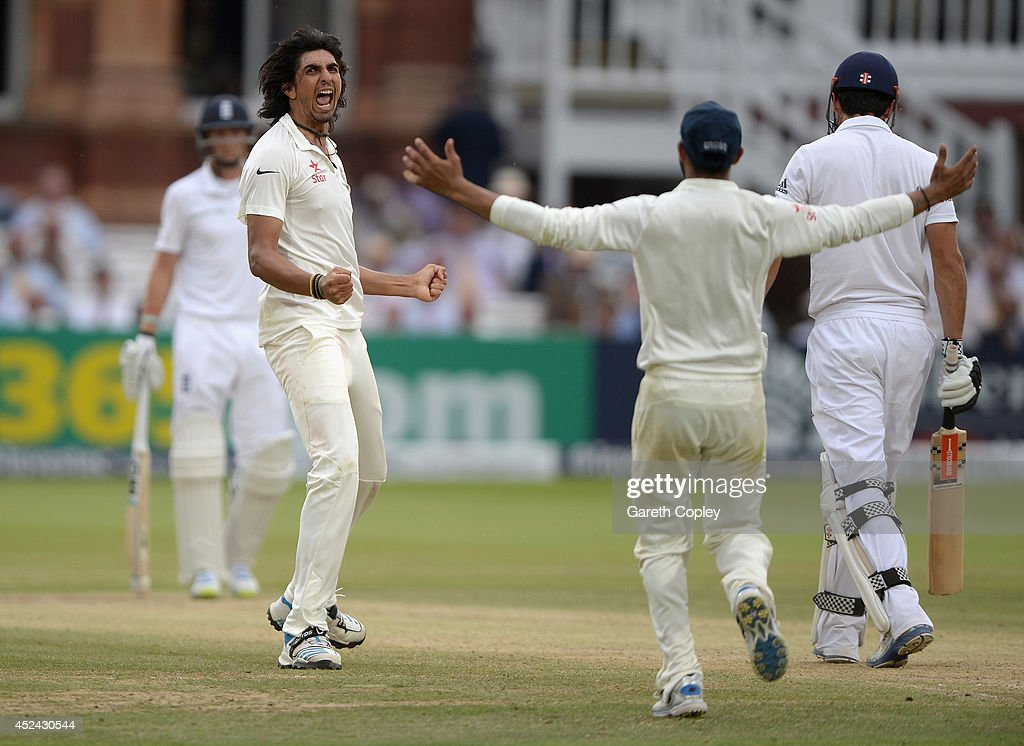 <a gi-track='captionPersonalityLinkClicked' href=/galleries/search?phrase=Ishant+Sharma&family=editorial&specificpeople=4305535 ng-click='$event.stopPropagation()'>Ishant Sharma</a> of India celebrates dismissing England captain <a gi-track='captionPersonalityLinkClicked' href=/galleries/search?phrase=Alastair+Cook+-+Cricket+Player&family=editorial&specificpeople=571475 ng-click='$event.stopPropagation()'>Alastair Cook</a> during day four of 2nd Investec Test match between England and India at Lord's Cricket Ground on July 20, 2014 in London, United Kingdom.