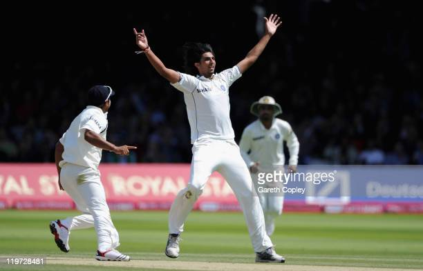Ishant Sharma of India celebrates dismissing Ian Bell of England during day four of the 1st npower test match between England and India at Lord's...