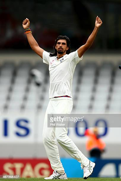 Ishant Sharma of India celebrates his wicket of BJ Watling of New Zealand during day two of the First Test match between New Zealand and India at...