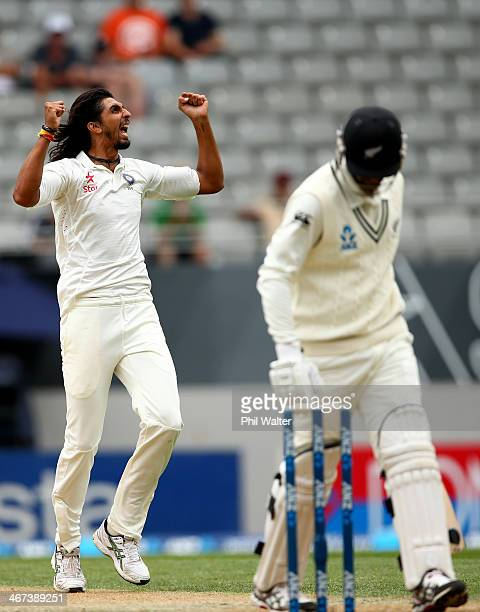 Ishant Sharma of India celebrates his wicket of Ish Sodhi of New Zealand during day two of the First Test match between New Zealand and India at Eden...