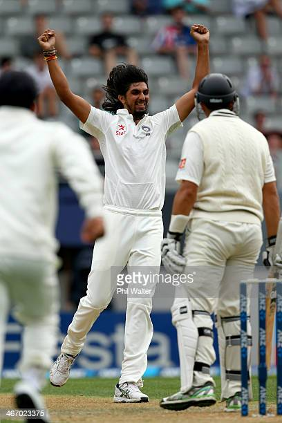 Ishant Sharma of India celebrates his wicket of Ross Taylor of New Zealand during day one of the First Test match between New Zealand and India at...