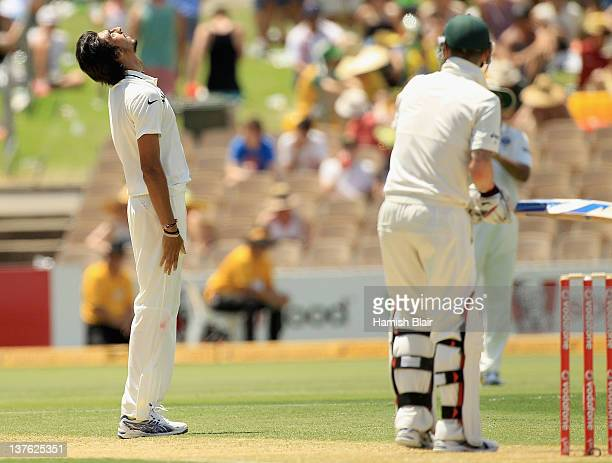 Ishant Sharma of India has a near miss against Michael Clarke of Australia during day one of the Fourth Test Match between Australia and India at...