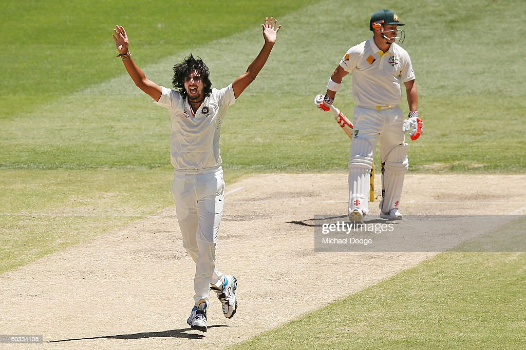 Ishant Sharma of India makes an unsuccessful LBW appeal against David Warner of Australia during day four of the First Test match between Australia...
