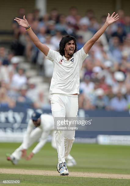 Ishant Sharma of India successfully appeals for the wicket of Gary Ballance of England during day three of 1st Investec Test match between England...