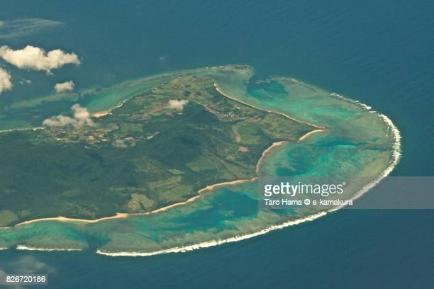 Ishigaki island in Okinawa prefecture day time aerial view from airplane