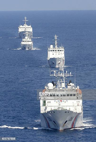 Ishigaki Japan Photo from a Kyodo News airplane shows a fleet of four China Maritime Surveillance vessels traveling in Japan's territorial waters...