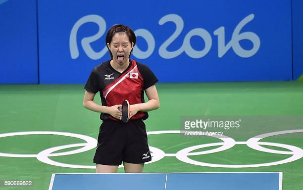 Ishikawa Kasumi of Japan reacts during the Womens Team Bronze Medal Team Match on Day 11 of the 2016 Rio Olympics at Riocentro Pavilion 3 on August...