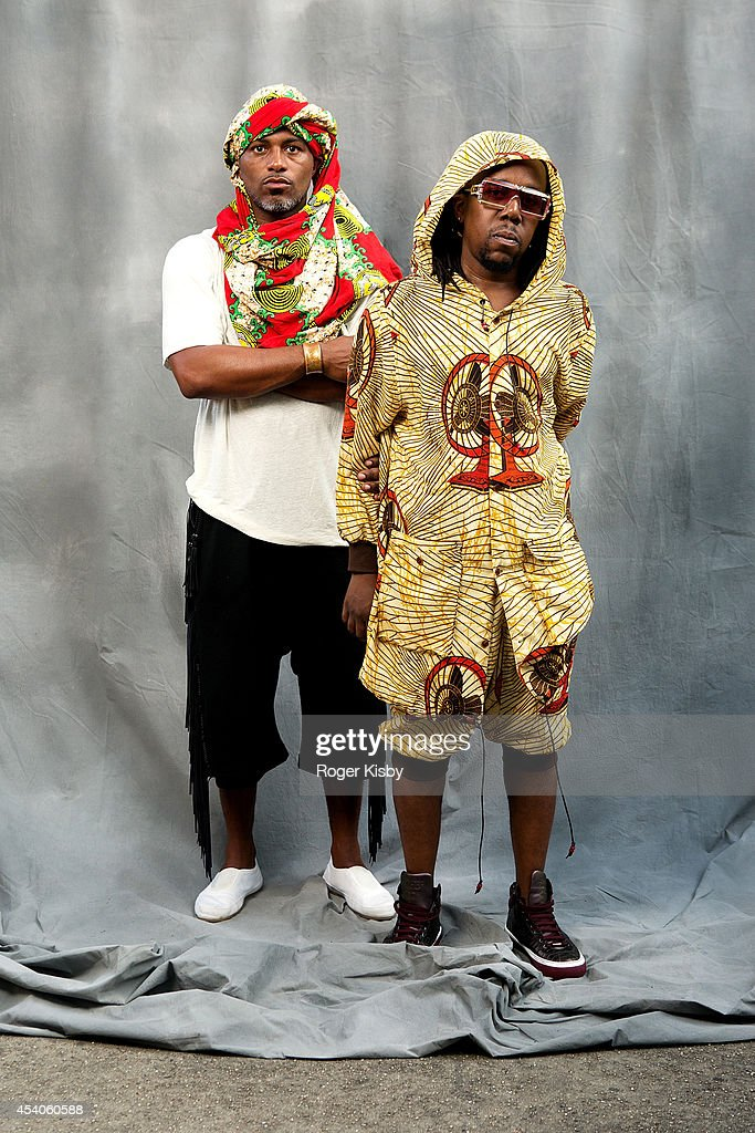 Ishmael Butler and Tendai Maraire of Shabazz Palaces pose for a portrait backstage during day 1 of the AFROPUNK festival at Commodore Barry Park on August 23, 2014 in Brooklyn, New York.
