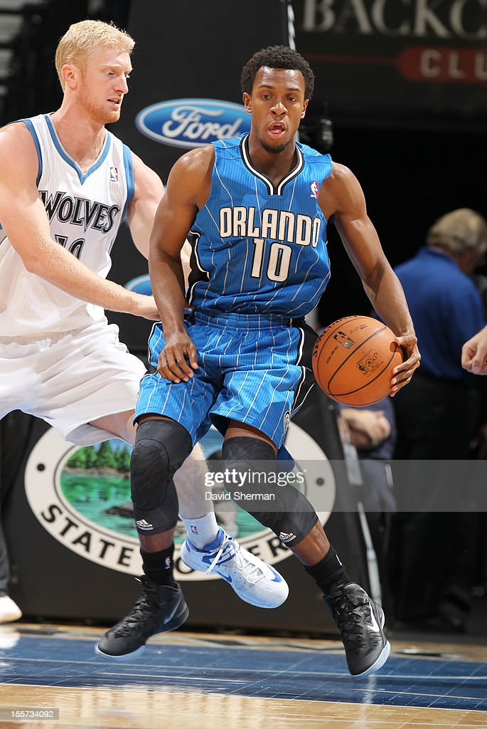 Ishmael Smith #10 of the Orlando Magic protects the ball from Chase Budinger #10 of the Minnesota Timberwolves during the game between the Minnesota Timberwolves and the Orlando Magic on November 7, 2012 at Target Center in Minneapolis, Minnesota.