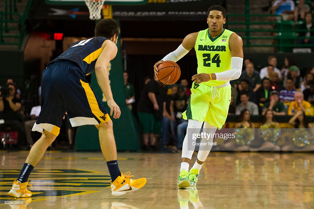 Ishmail Wainright of the Baylor Bears brings the ball up court against the West Virginia Mountaineers on March 5 2016 at the Ferrell Center in Waco...