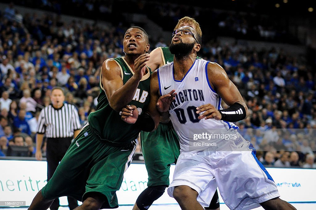 Isiah Jones #23 of the UAB Blazers battles for position with Gregory Echenique #0 of the Creighton Bluejays during their game at CenturyLink Center on November 14, 2012 in Omaha, Nebraska. Creighton beat UAB 77-60.