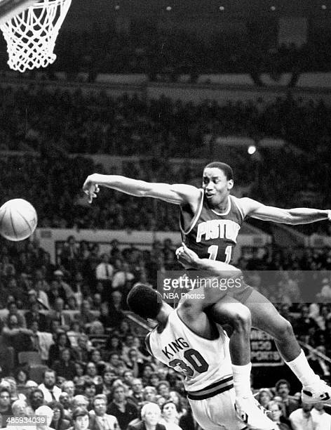 Isiah Thomas of the Detroit Pistons drives against Bernard King of the New York Knicks circa 1985 at the Palace of Auburn Hills in Auburn Hills...