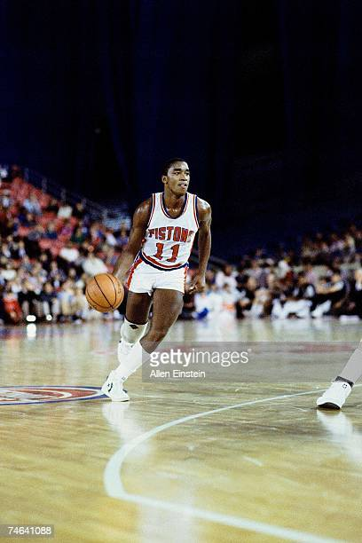 Isiah Thomas of the Detroit Pistons drives to the basket during a 1984 NBA game at the Palace of Auburn Hills in Detroit Michigan NOTE TO USER User...