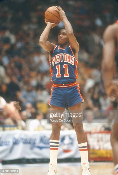 Isiah Thomas of the Detroit Pistons goes up to shoot against the Washington Bullets during an NBA basketball game circa 1982 at The Capital Centre in...