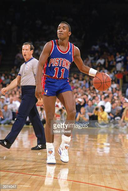 Isiah Thomas of the Detroit Pistons handles the ball during a game against the Los Angeles Lakers at the Great Western Forum in Los Angeles...