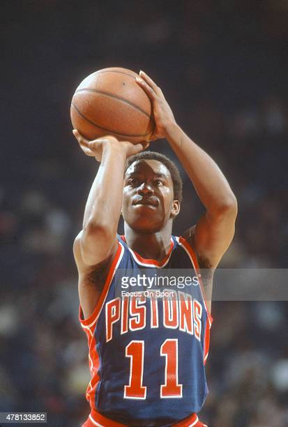 Isiah Thomas of the Detroit Pistons shoots a free throw against the Washington Bullets during an NBA basketball game circa 1984 at The Capital Centre...