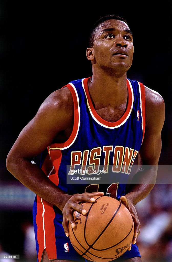 Isiah Thomas of the Detroit Pistons shoots a free throw against the Atlanta Hawks during an NBA game in 1990 at the Omni in Atlanta Georgia NOTE TO...