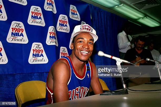 Isiah Thomas of the Detroit Pistons smiles for the camera during the Postgame Press Conference of game four of the NBA Finals The Detroit Pistons...