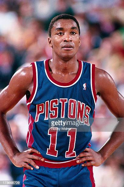 Isiah Thomas of the Detroit Pistons waits to resume play against the Sacramento Kings during a game played on February 23 1988 at Arco Arena in...