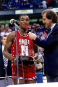 Isiah Thomas of the Eastern Conference is interviewed after winning the AllStar MVP award on February 9 1986 at the Reunion Arena in Dallas Texas...