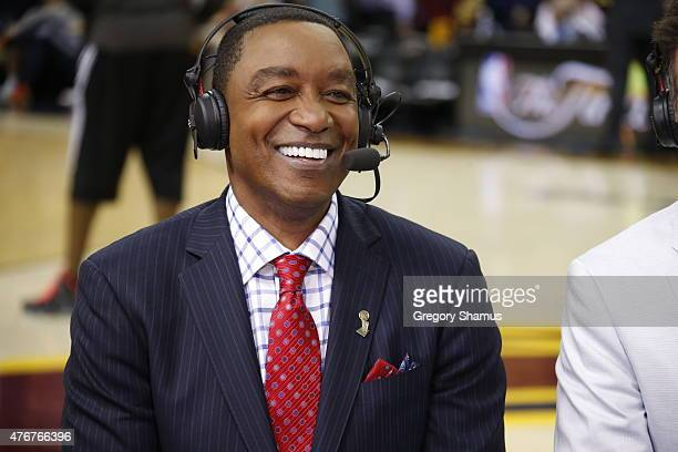 Isiah Thomas speaks on NBA TV before Game Four of the 2015 NBA Finals between the Cleveland Cavaliers and the Golden State Warriors on June 11 2015...