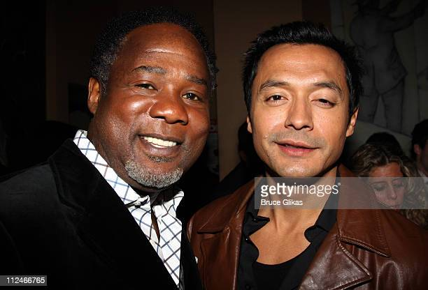 Isiah Whitlock Jr and Otto Sanchez pose at the OffBroadway opening night party for the Atlantic Theater Company's 'Farragut North' at the Cutting...