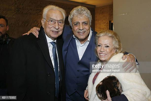 Isidore Partouche and his wife and Enrico Macias attend the Enrico Macias Show at L'Olympia on January 7 2017 in Paris France