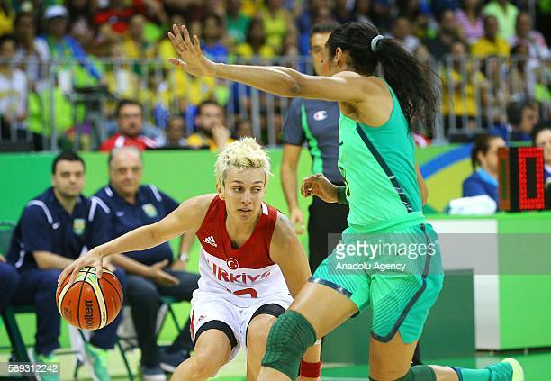 Isil Alben of Turkey in action against Iziane Castro of Brazil during a Women's Group A game between Turkey and Brazil at the Rio 2016 Olympic Games...