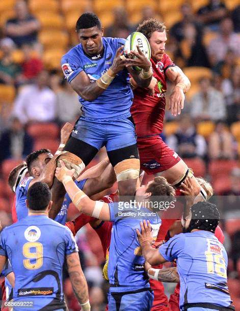Isireli Naisarani of the Western Force and Scott Higginbotham of the Reds compete at the lineout during the round 14 Super Rugby match between the...