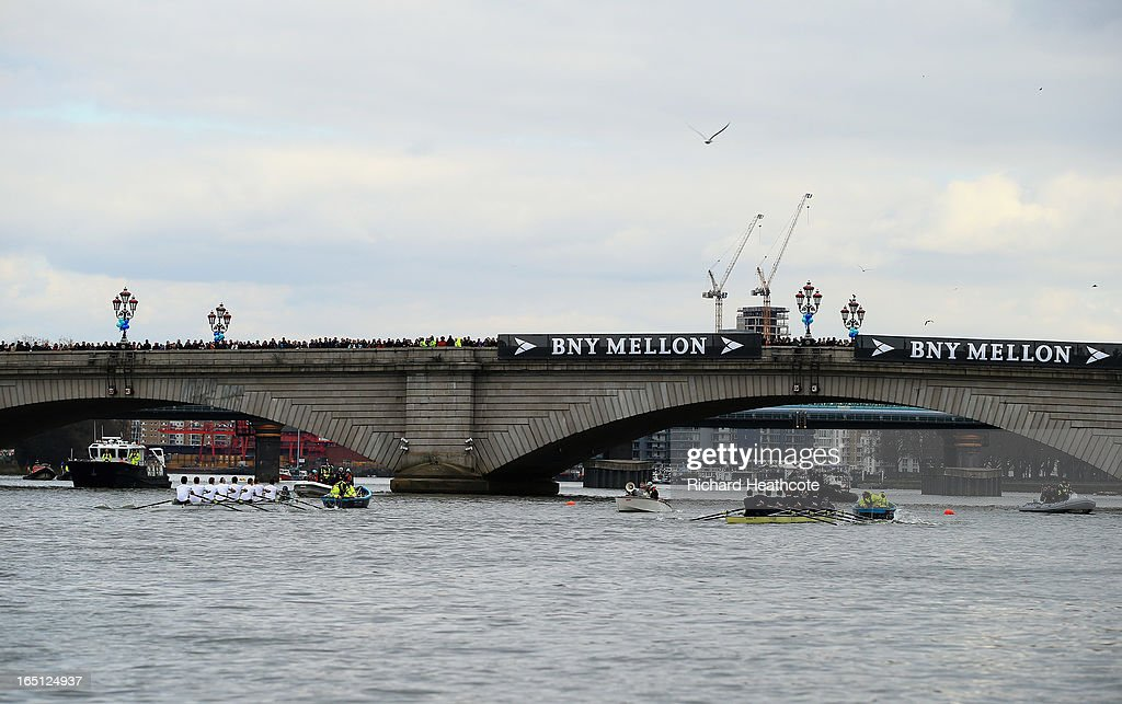 Isis and Goldie compete prior to the BNY Mellon 159th Oxford versus Cambridge University Boat Race on The River Thames on March 31, 2013 in London, England.