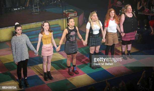 Isis Hainsworth Kirsty MacLaren Frances Mayli McCann Dawn Sievewright Karen Fishwick and Caroline Deyga bow at the curtain call during the press...