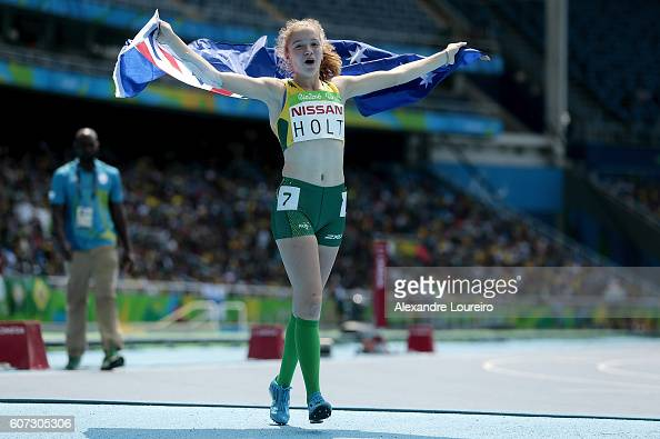 Isis Holt of Australia celebrates the second place in the Women's 200 meter T35 final at Olympic Stadium on day 10 of the Rio 2016 Paralympic Games...