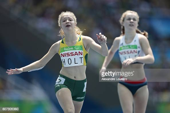 Isis Holt of Australia competes in the Women's 200 meter T35 final at Olympic Stadium on day 10 of the Rio 2016 Paralympic Games at on September 17...