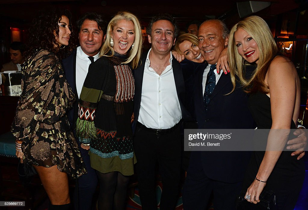 Isis Monteverde, Giorgio Veroni, Tamara Beckwith, Alejandro Agag, Grainne Stevenson, Fawaz Gruosi and Caprice Bourret attend a private dinner hosted by Fawaz Gruosi, founder of de Grisogono, at Annabels on April 28, 2016 in London, England.