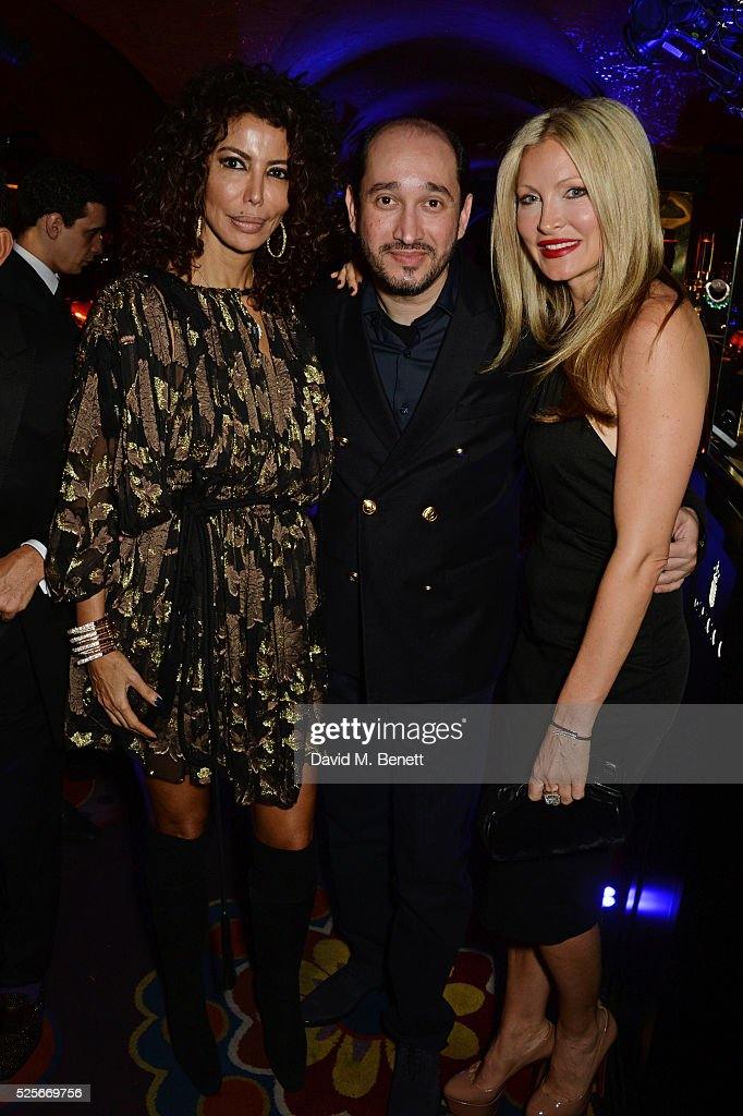 Isis Monteverde, Sheikh Mohammed Youseef El Khereiji and Caprice Bourret attend a private dinner hosted by Fawaz Gruosi, founder of de Grisogono, at Annabels on April 28, 2016 in London, England.