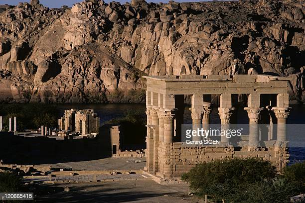 Isis Temple Philae in Aswan Egypt Philae was once an Egyptian island submerged in the1970s and until 1974 housed the ruins of temples and ancient...